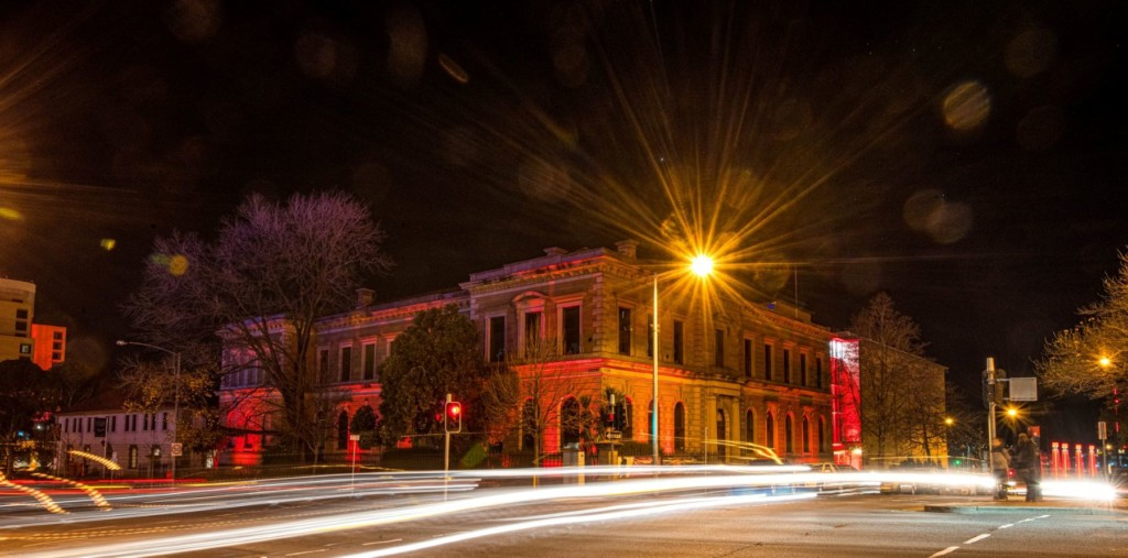 Light trails in front of The Tasmanian Museum and Art Gallery at night