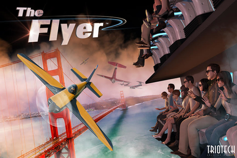 triotech develops first of its kind scaleable fly theatre attraction The Flyer