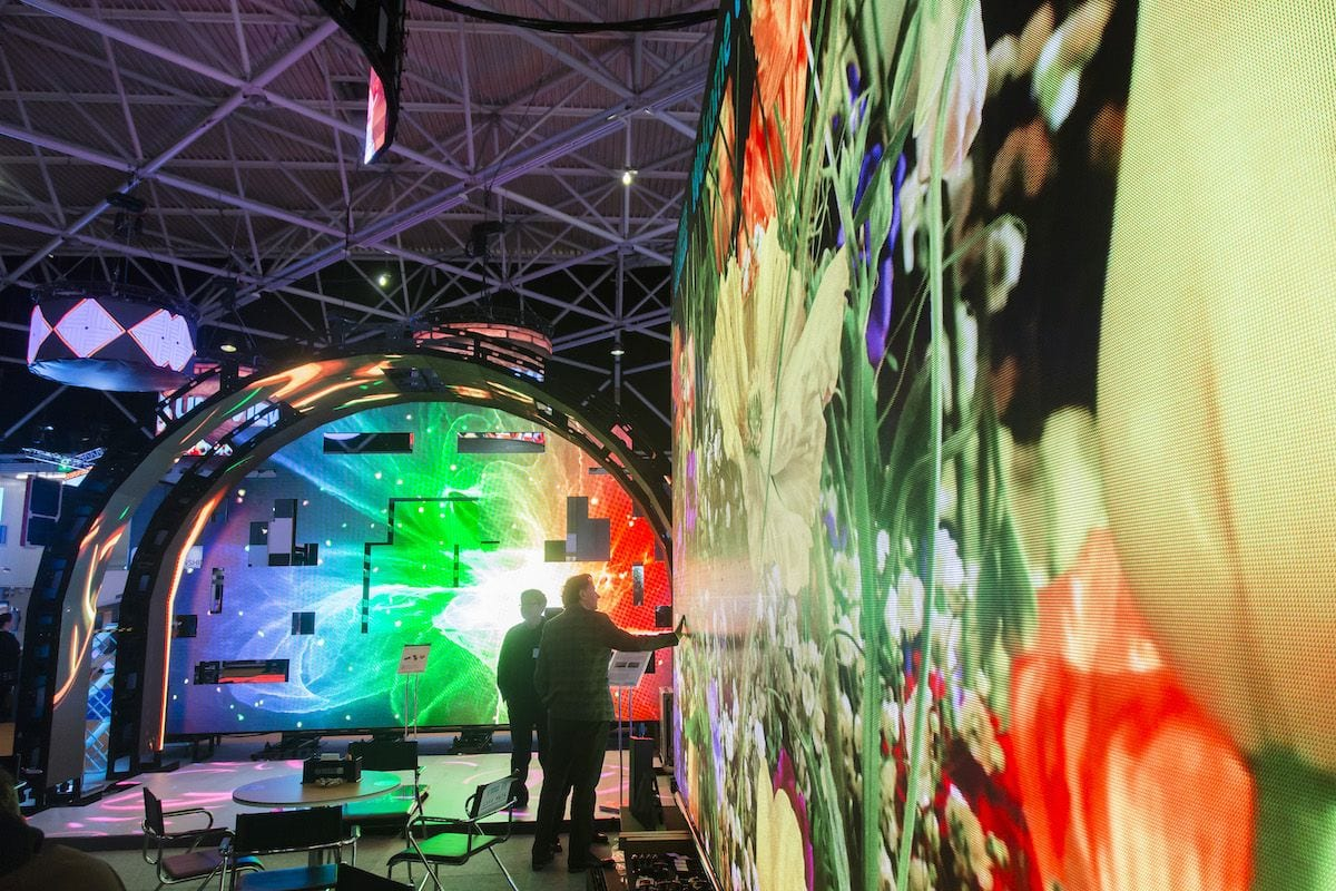 large colourful audiovisual display screen at ise