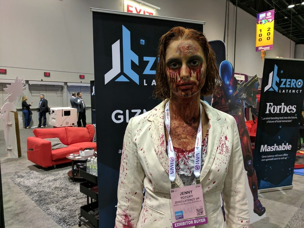 zombie girl at iaapa expo 2016 zero latency vr booth