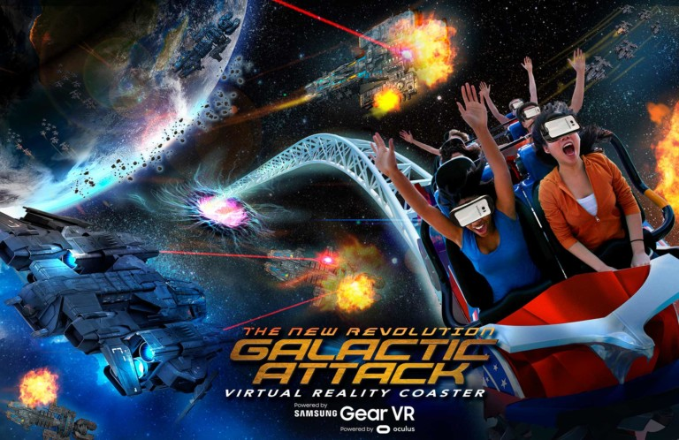six flags galactic attack mixed reality vr coaster