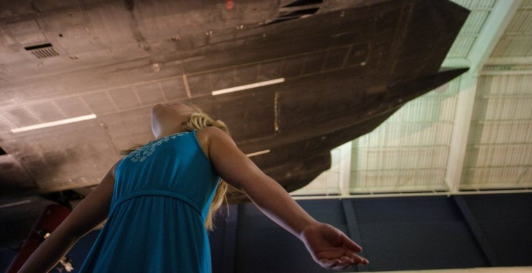 Cosmosphere Innovation Space girl looks at spacecraft (1)