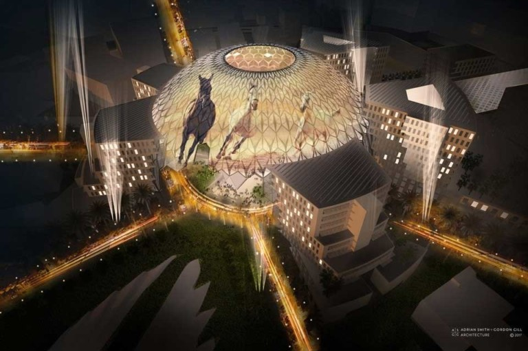 Al Wasl Plaza Dubai Expo 2020 360 projection horses