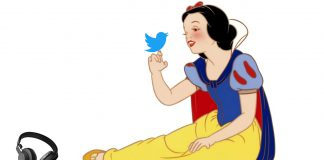 should disney buy twitter and spotify? snow whit with twitter bird and headphones
