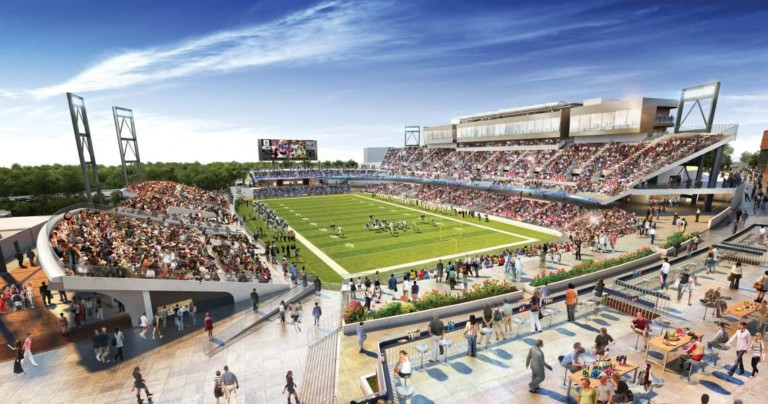 Construction of waterpark and VR rides set to kick off this year at Canton's football themed 'smart city'