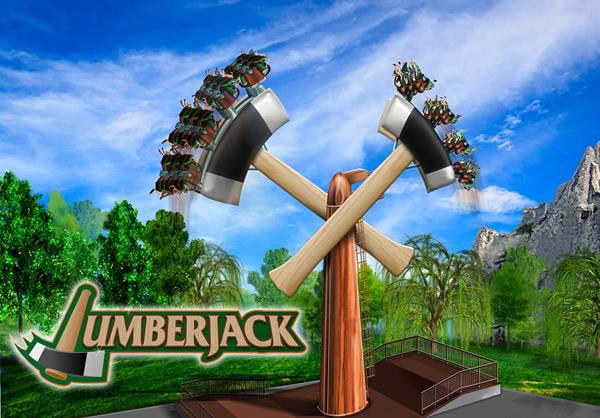 """Concept art for the new """"Lumberjack"""" - one of two new rides at Canada's Wonderland."""