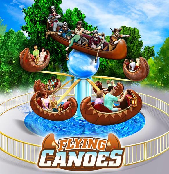 A rendering of Flying Canoes - a new attraction at the Ontario Theme Park.