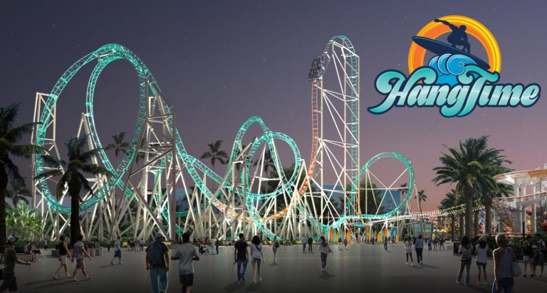 A rendering of HangTime, the dive coaster coming to Knott's Berry Farm.