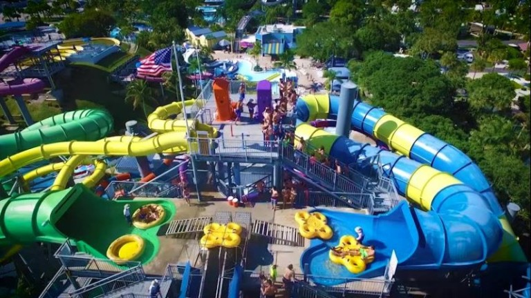 The nearby rapids waterpark Premier Parks