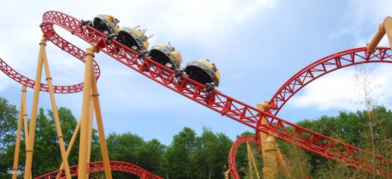 The Twist rollercoaster at Le PAL, France.