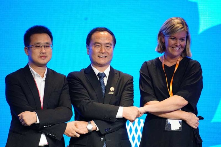 From left to right: Shu Zhan, General Manager of Tencent Tourism; Su Yu, Secretary-General of WTCF; Laura Aalto, CEO of Helsinki Marketing.