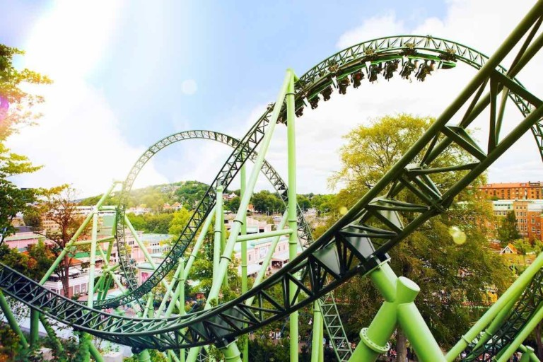 helix rollercoaster ar liseberg sweden, one of the European theme parks closed due to coronavirus