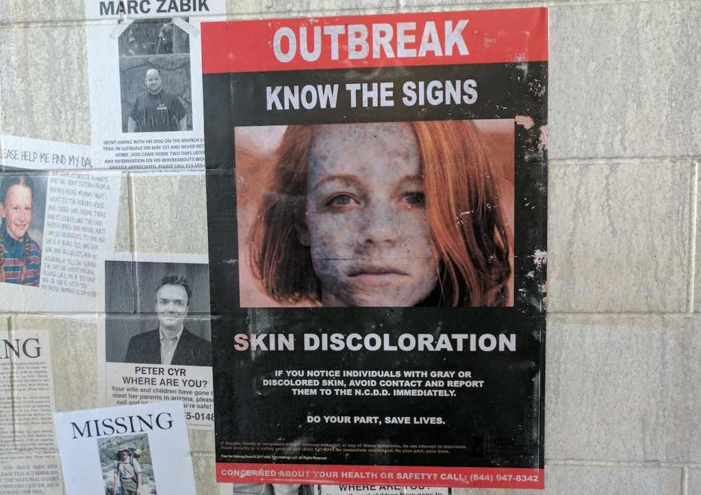 outbreak poster at fear the walking dead survival fremont street experience