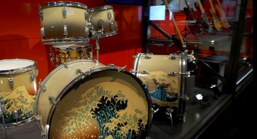 the pink floyd their mortal remains exhition V&A the wall drums