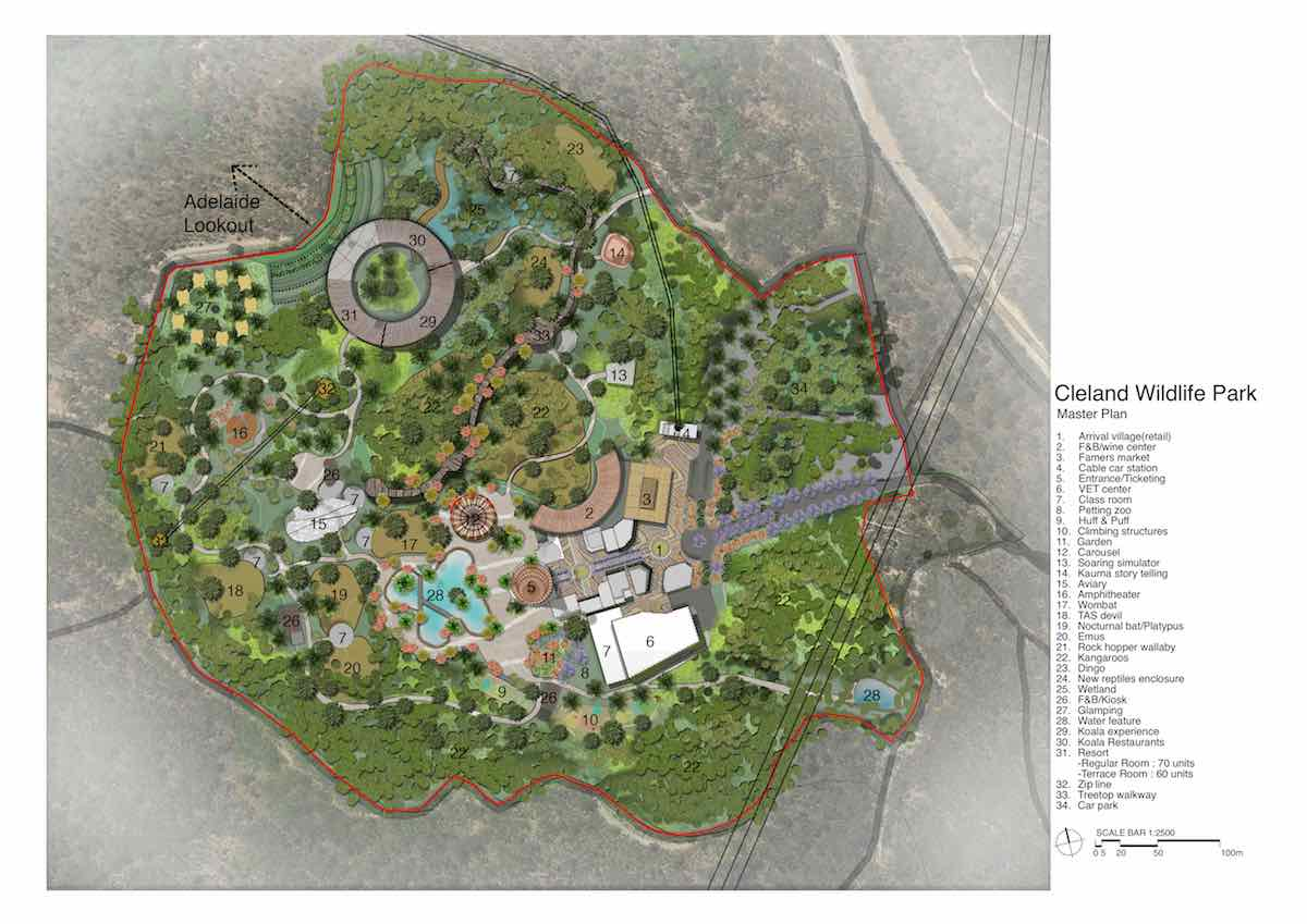cleland wildlife park adelaide Lang Kwai Fong Group master plan master plan with numbers (1)