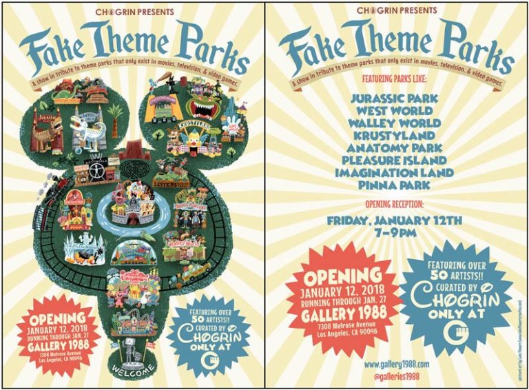 Fake theme park art show poster. Gallery 1988.