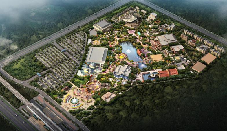 Aerial image of planned Fantawild theme park in Huaian