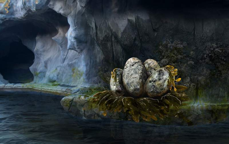 nest of giant eggs by river by mk illumination for movie park germany's new excalibur ride