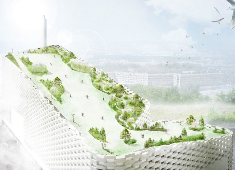 A design rendering of the park and ski slope currently being built on the roof of the Amager Bakke Waste-to-Energy Plant in Copenhagen, Denmark. Designs by SLA.
