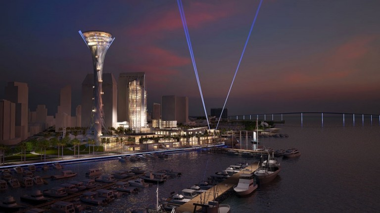 A design rendering of the proposed $1.5 billion Seaport San Diego at night.