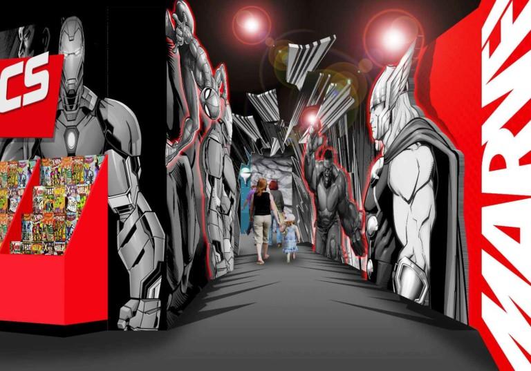 entrance to merlin marvel attraction madame tussauds blackpool iron man thor hulk