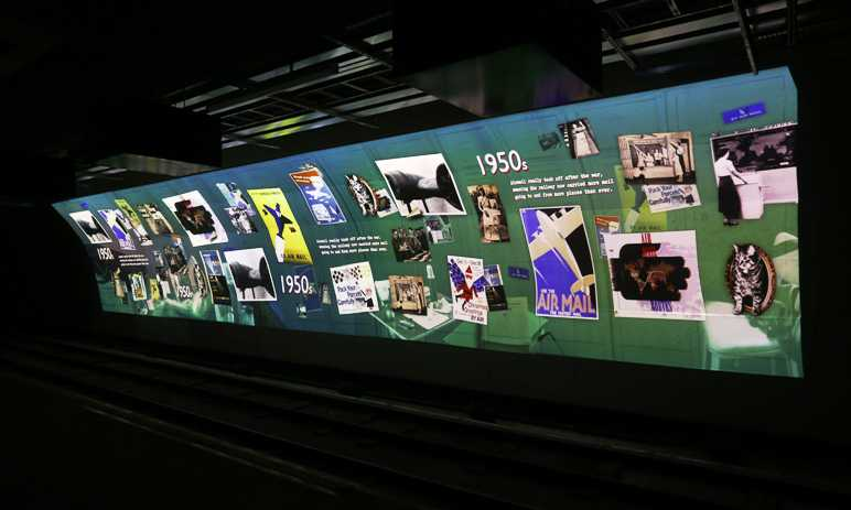 rail mail collage tunnel postal museum digital projection
