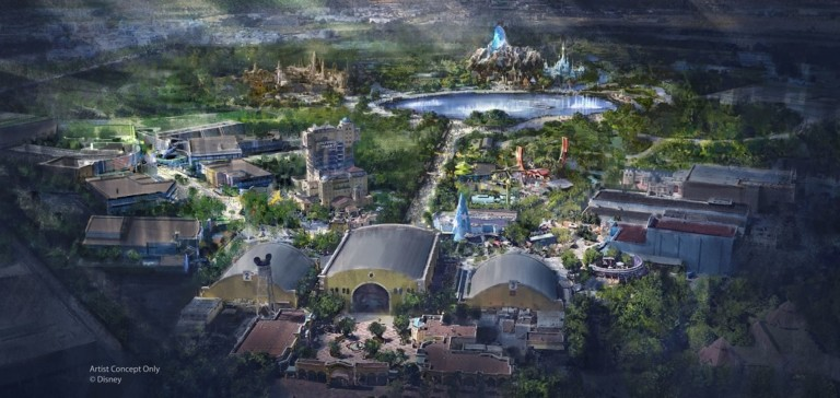 Disneyland Paris expansion rendering with Marvel, Frozen and Star Wars themed areas.
