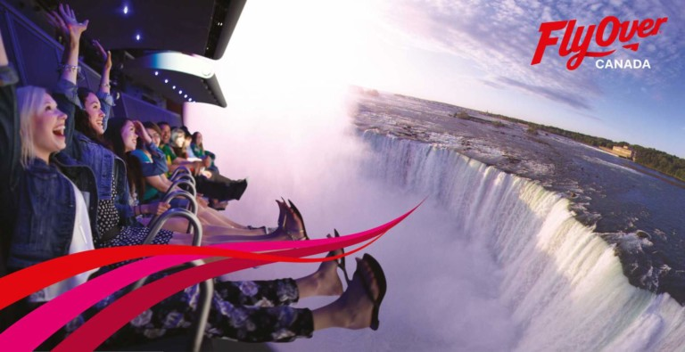 guests enjoying FlyOver Canada flying theatre experience