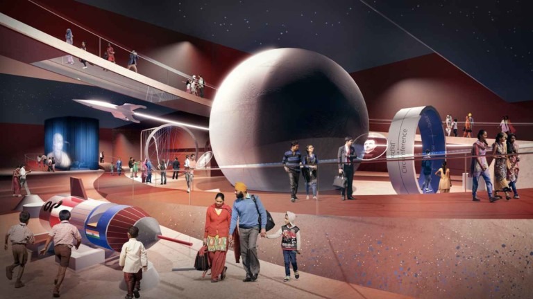 interior of new science centre in india with rocket and planets