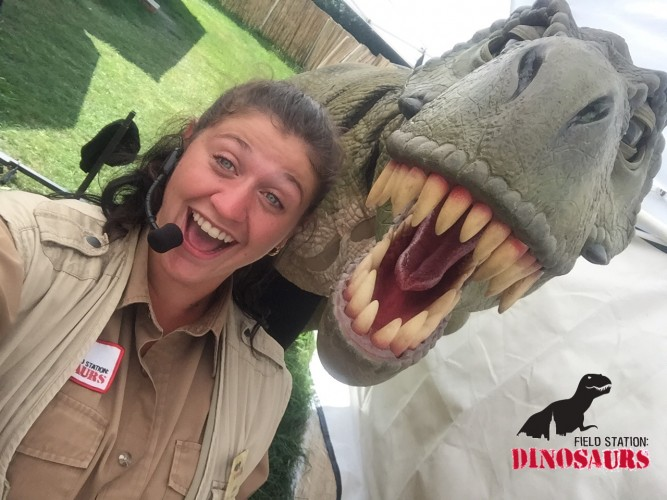 T-Rex puppet and handler at Field Station Dinosaurs