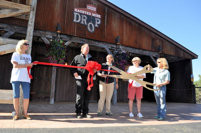 Steve and Jean Beckly cut the ribbon at the Haunted Mine Drop, Glenwood Caverns