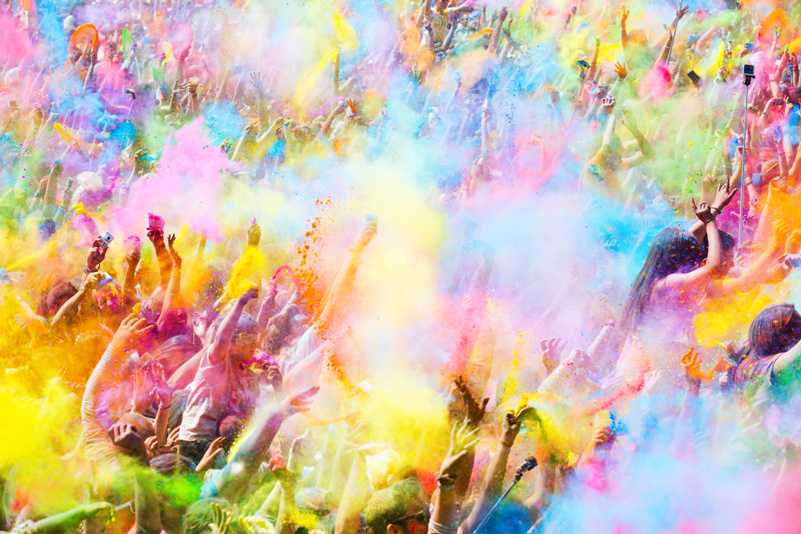 fan celebrating colour festival
