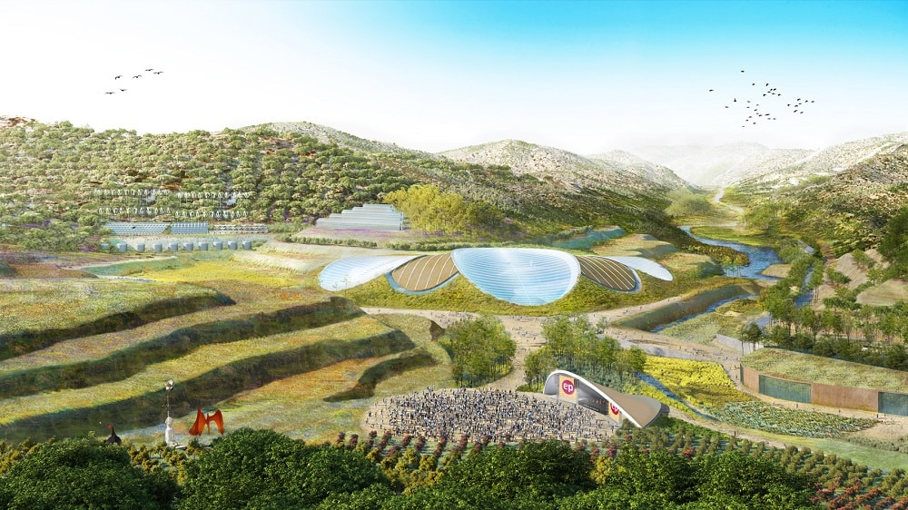 Eden Project. China. Waterfall. Grimshaw Architects. Eden Project International