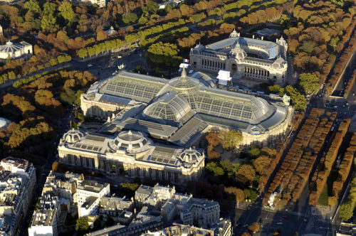 Aerial view of the Grand Palais in Paris.