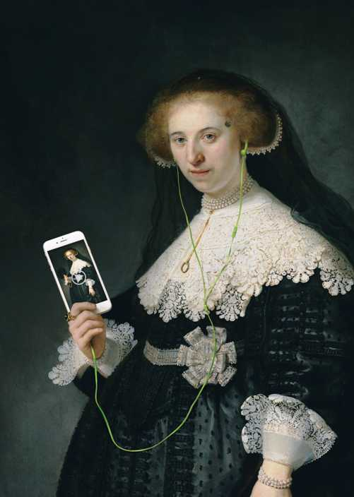 woman in Dutch master painting from rijksmuseum holds smartphone