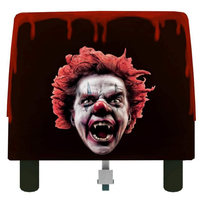 rear of ride vehicle with gruesome clown vampire face by eos rides
