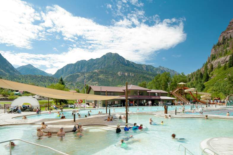 guests enjoy ouray hot springs pool colorado engineered by cloward h2o