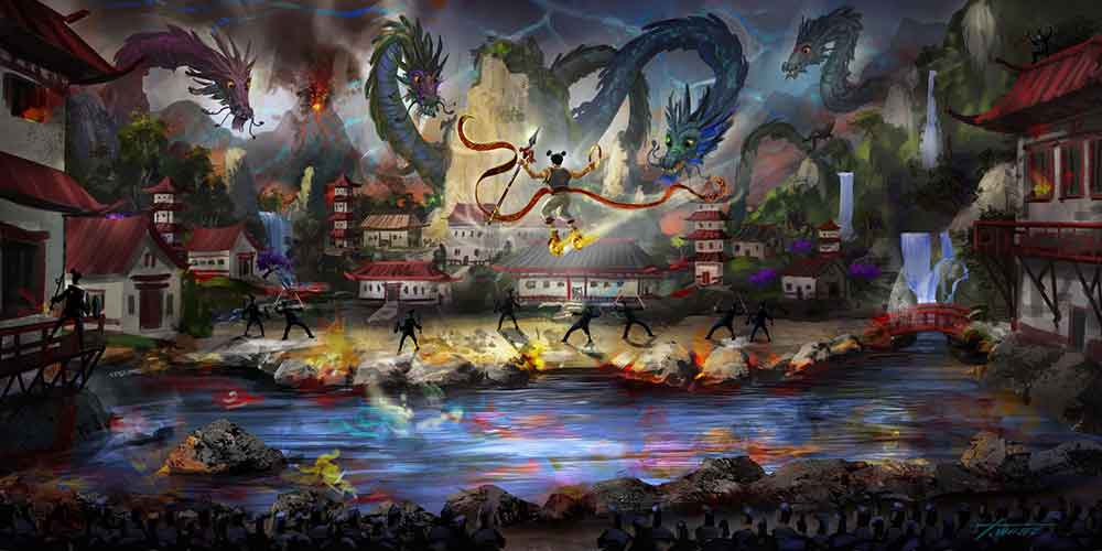 Live action stunt show Fury of the Dragon King by IDEATTACK at Evergrande Fairytale World theme park China
