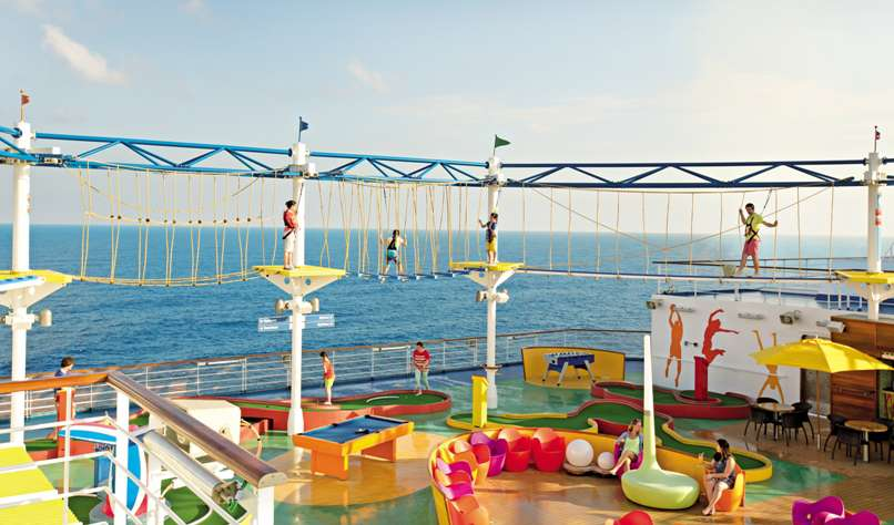 family experiencing RCI ropes course on carnival cruise ship