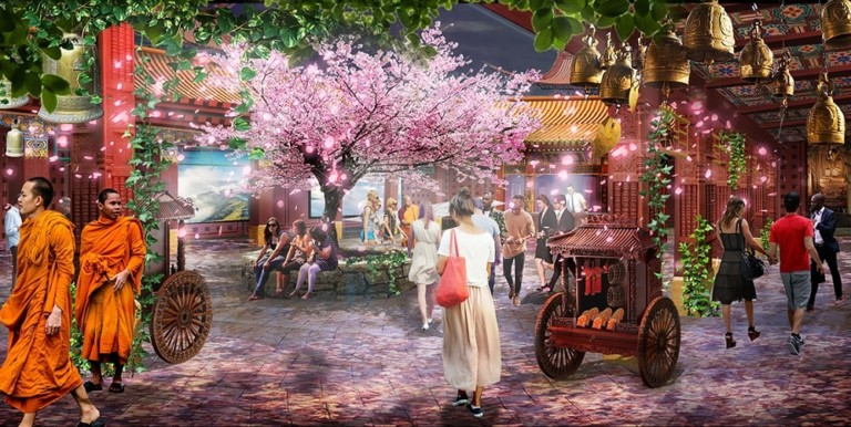 Kind Heaven, an 360-degree immersive experience, has been proposed for The LINQ Hotel & Casino. Concept art provided by Immersive Artistry.