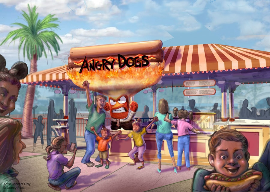 Artist concept of Angry Dogs at Pixar Pier.
