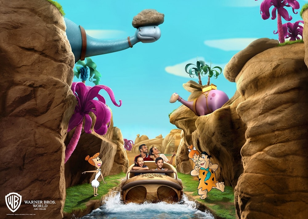 The Flintstones Bedrock River Adventure at Warner Bros World Abu Dhabi.