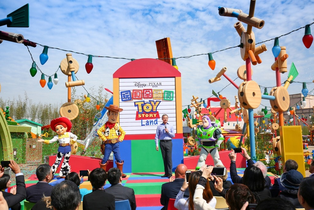Bob Iger speaks at the opening of Toy Story Land at Shanghai Disney Resort.