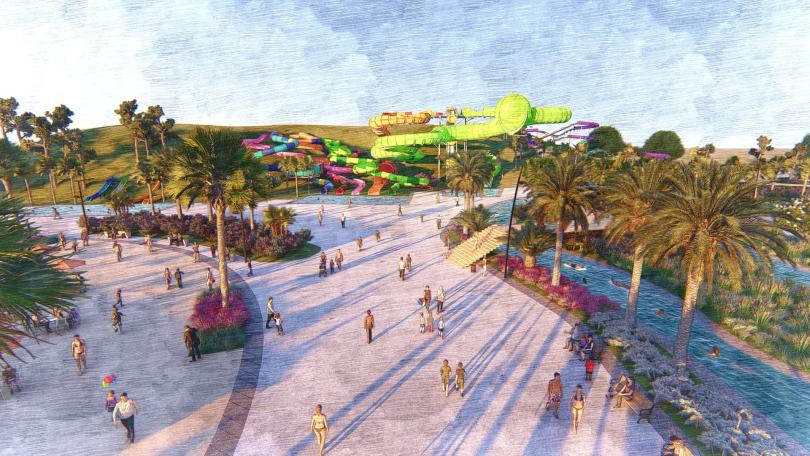 A rendering of the proposed Wild Rivers water park in Irvine, Orange County, California.
