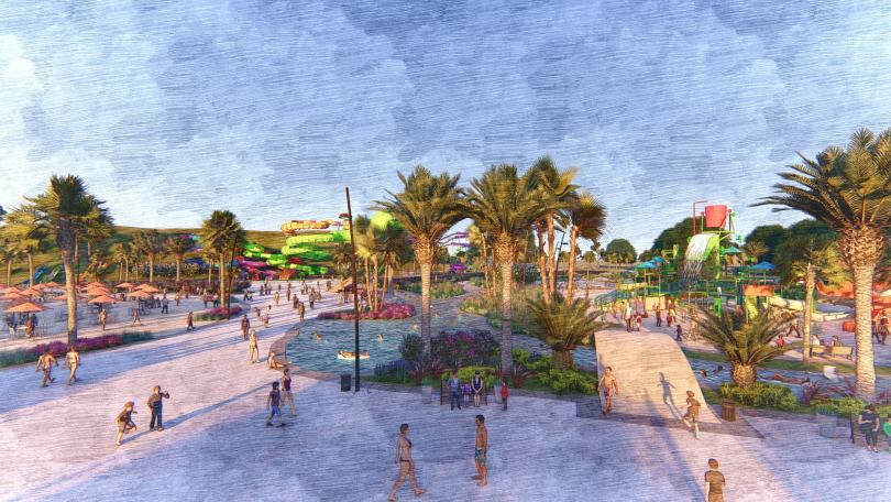 A rendering of the proposed water park in Irvine, Orange County, California.