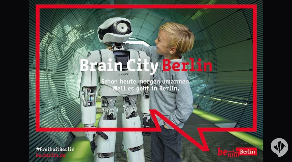boy and robot beBerlin Berlin marketing campaign by dan pearlman