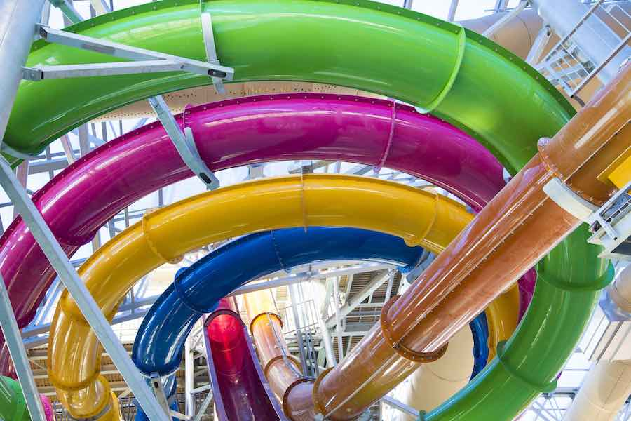 colourful waterslides at Epic Waters indoor waterpark texas