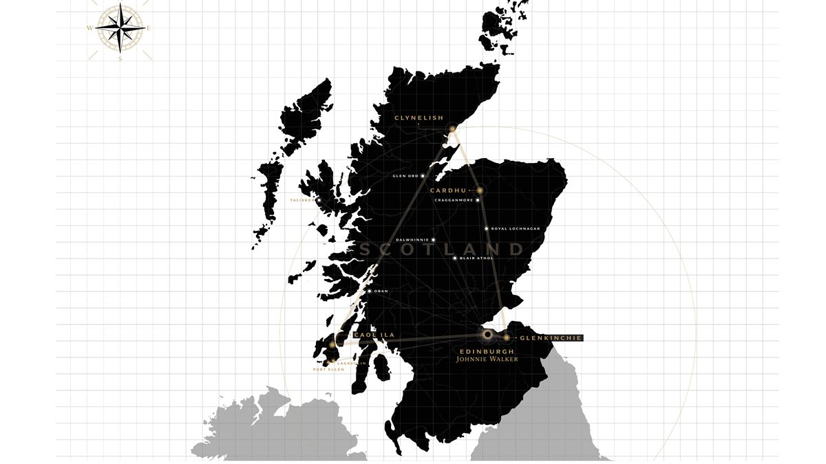 A map of Scotland showing the location of Diageo Scotch whiskey distilleries.