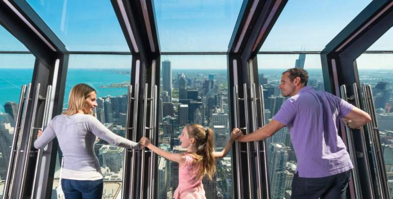 Family on TILT thrill ride at 360 CHICAGO Observation Deck