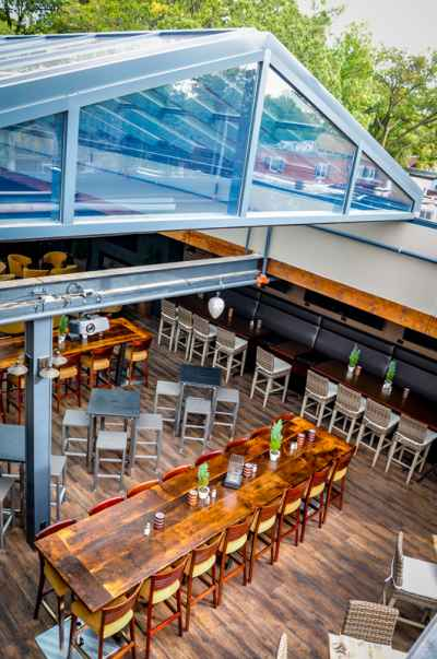 crooked cue pub with openair retractable roof